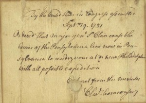 Philadelphia, September 19, 1781 Charles Thomson to Arthur St. Clair - Courtesy of the Author