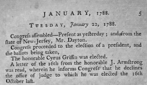 The Election of Cyrus Griffin JOURNALS OF THE UNITED STATES IN CONGRESS ASSEMBLED