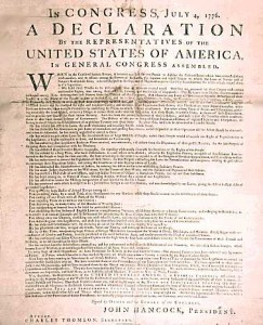 Broadside Produced during the night of July 4, 1776, by printer John Dunlap - Courtesy of the National Archives