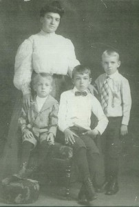 Irish Mary Collins Stanley with her three boys Bill, Jim and Chick