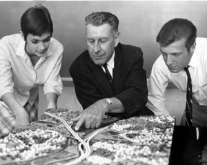BILL STANLEY photo The Norwich Trade School constructed a model of the proposed plan for Route 2 around Norwich in 1966, complete with the houses, streets, rivers and intersections in great detail. From left are Kathleen Materas, Henry S. Fillebrown and Norman Moran.